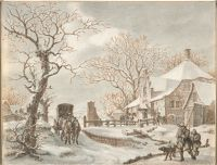 Winter Landscape With A Coach And Travellers By A House