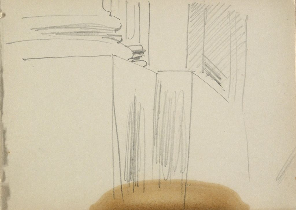 Blank Page; Verso: Perspective Sketch Of Column Bases And Pedestals