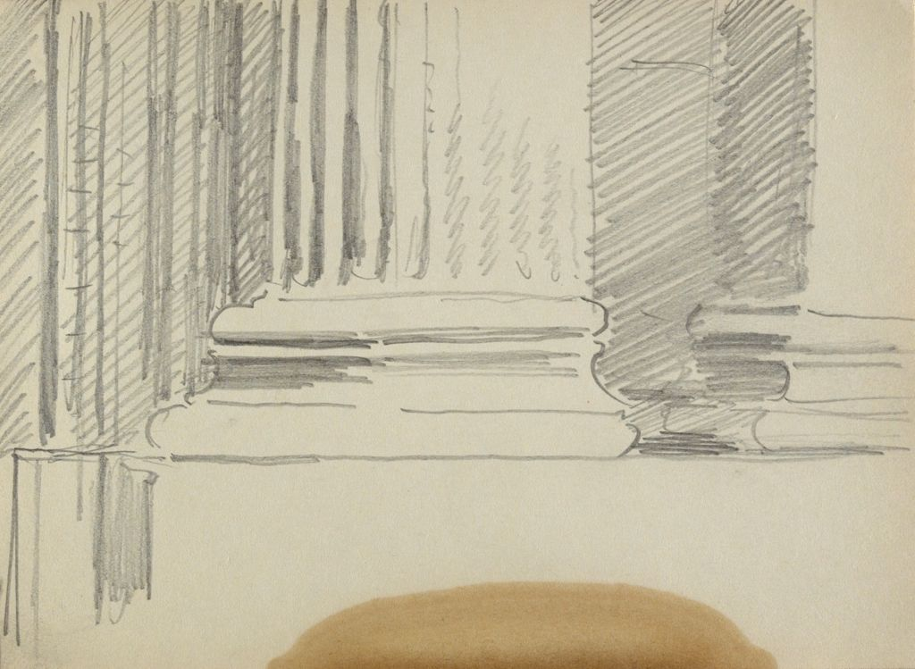 Blank Page; Verso: Sketch Of Column Base With Fluted Shaft