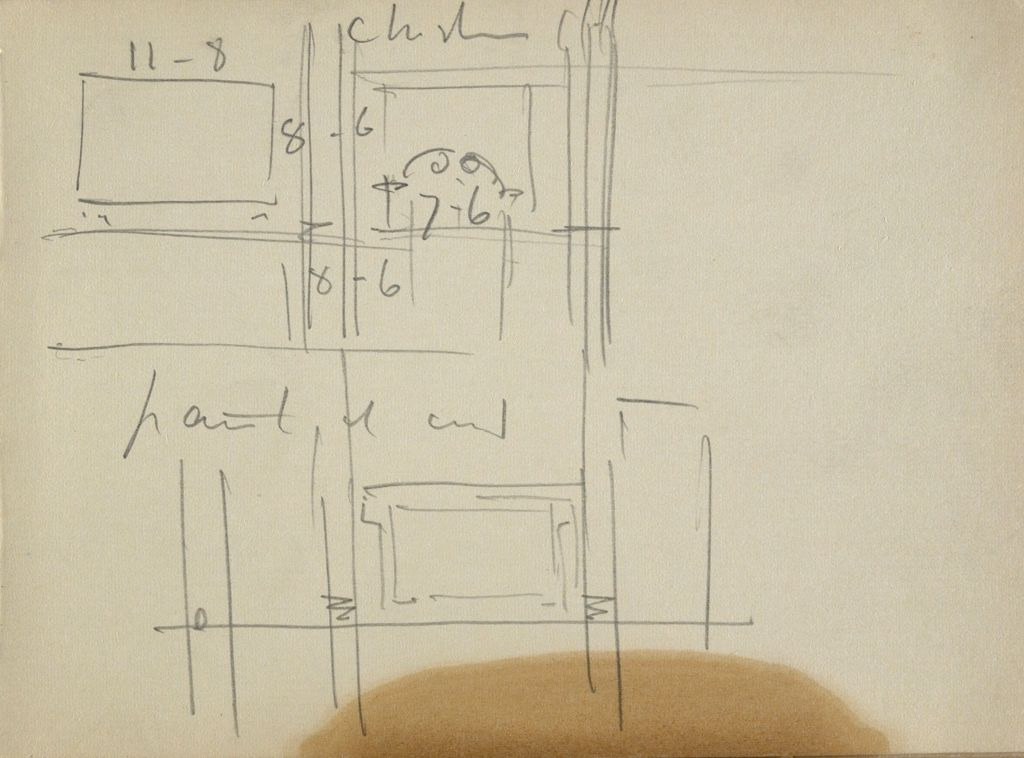 Blank Page; Verso: Architectural Diagram With Measurements