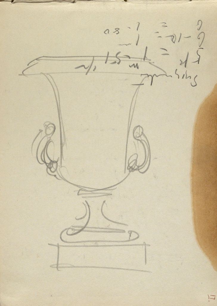 Inscription And Sketch Of Urn; Verso: Sketches Of Doorways