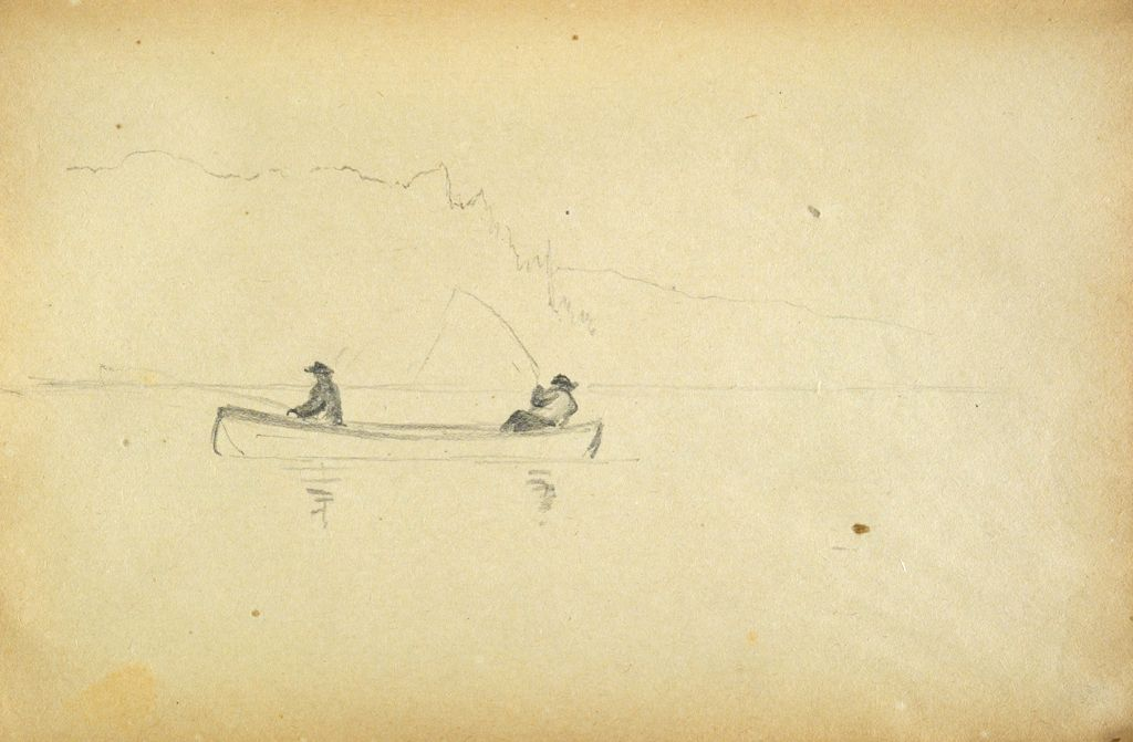 Men Fishing From A Rowboat