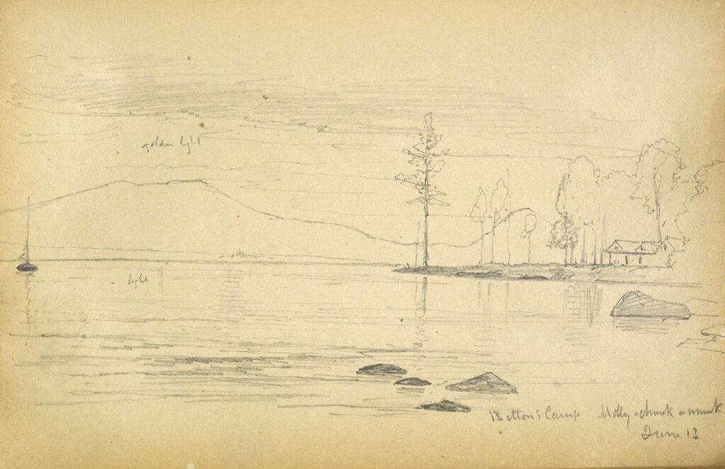 Camp At Lake Molly Chunk-A-Muuk, Maine; Verso: Slight Landscape