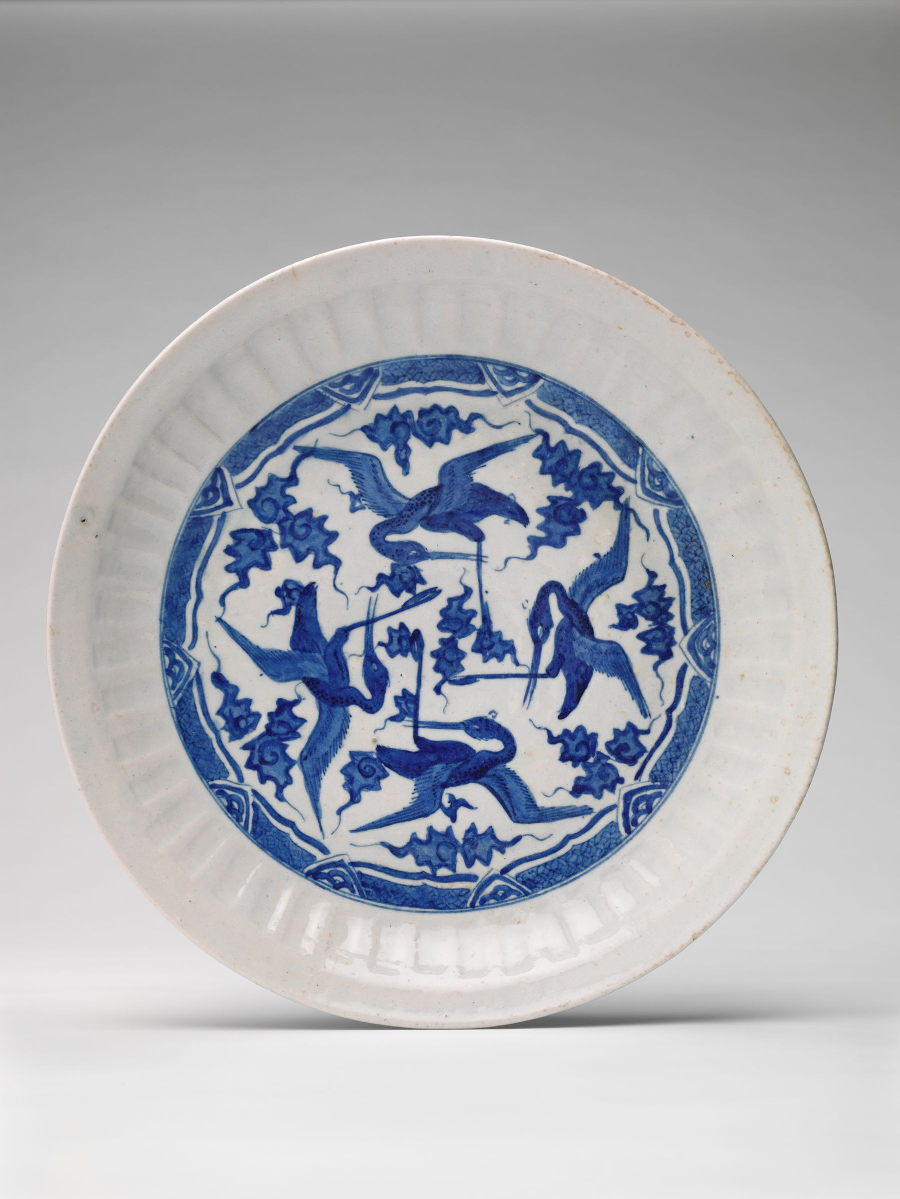 Large Dish With Flying Cranes