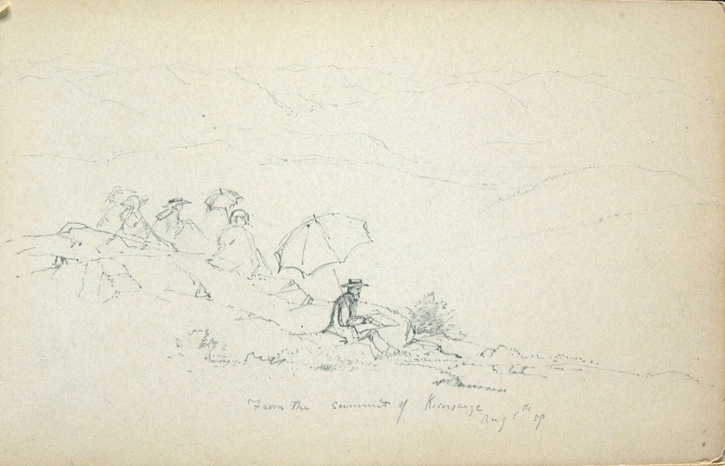 Seated Figures In A Landscape; Verso: Partial Landscape With Saco River, New Hampshire