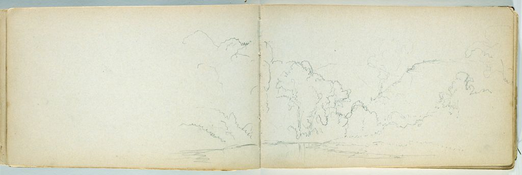 Landscape With River; Verso: Blank Page
