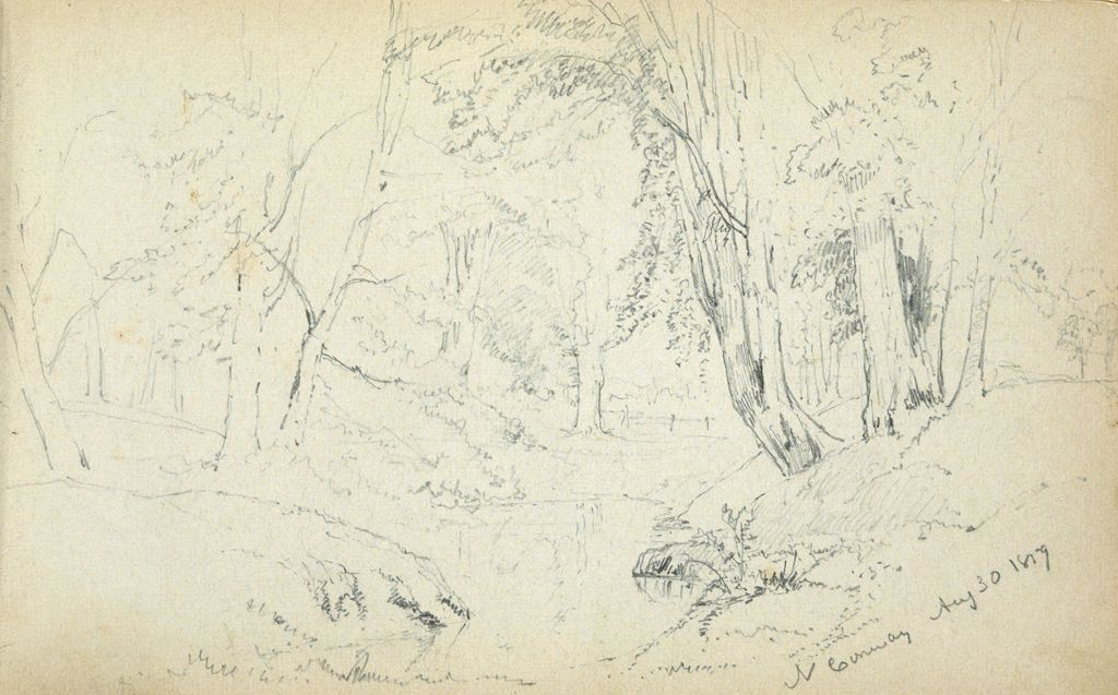 Landscape With Trees, North Conway, New Hampshire; Verso: Landscape With Sheep