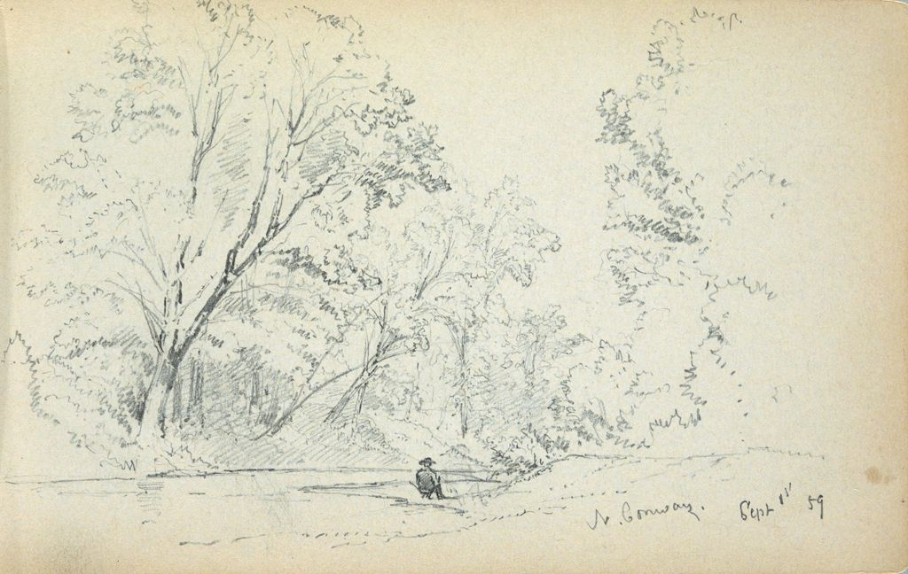 Landscape With Figure, North Conway, New Hampshire; Verso: Blank Page