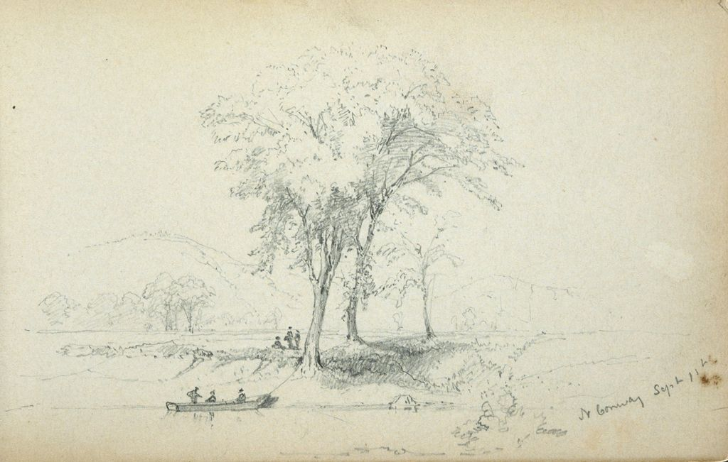 Landscape With Figures In Boat, North Conway, New Hampshire; Verso: Blank Page