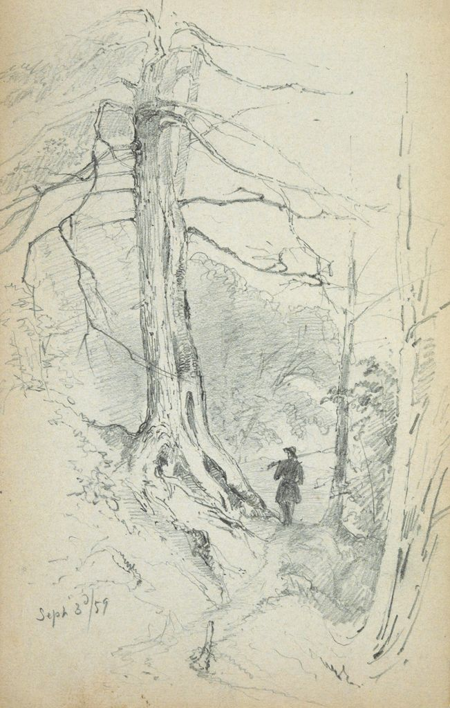 Figure In A Landscape; Verso: Blank Page