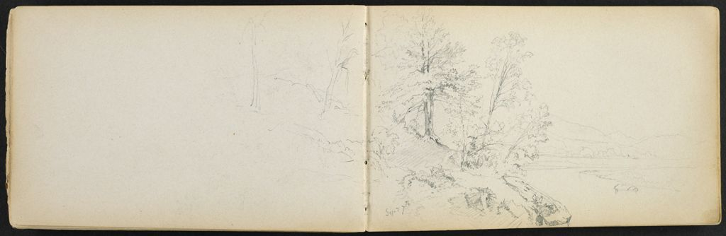 Partial Landscape With River; Verso: Blank Page