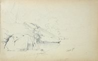 Rocky Landscape; verso: Cattle in a Landscape
