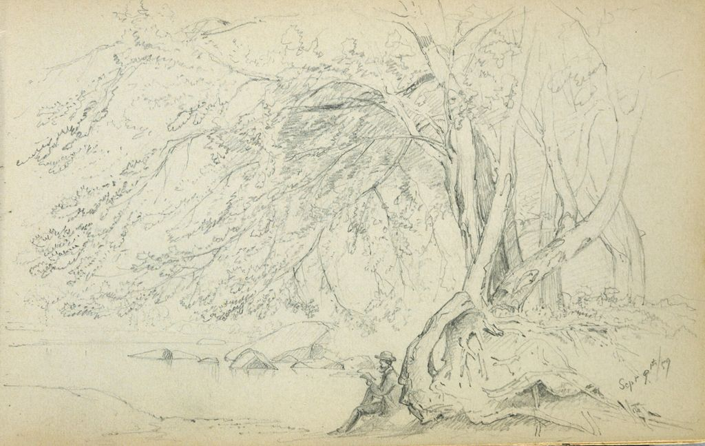 Man Reading Under A Tree; Verso: Blank Page