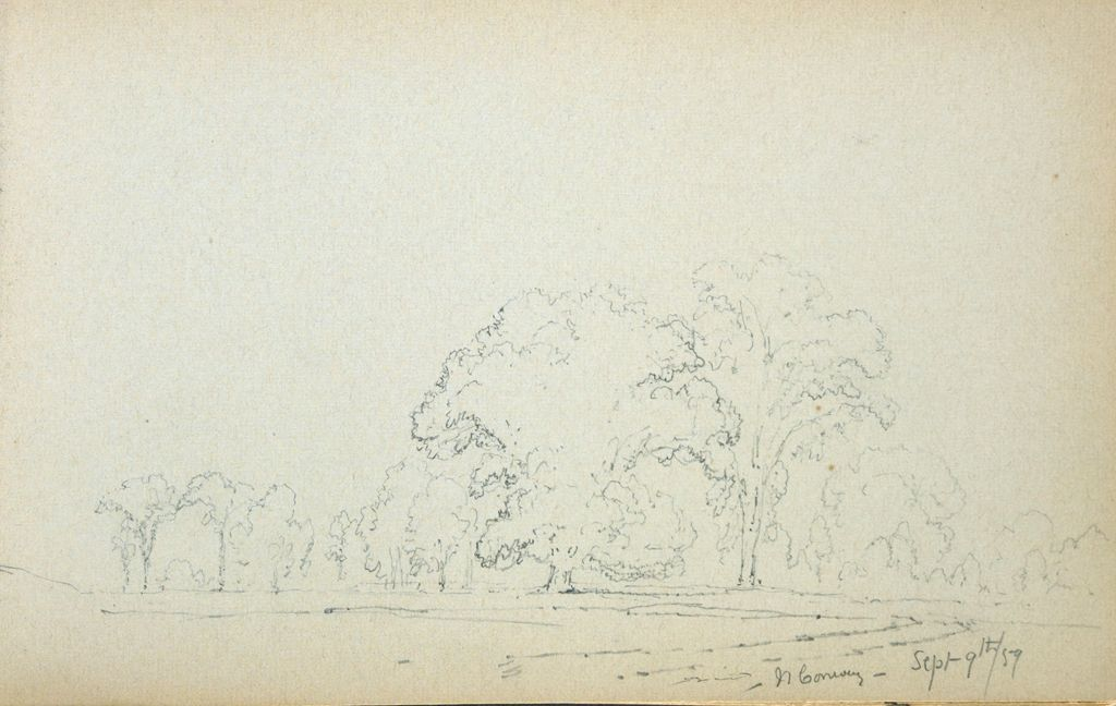 Landscape With Trees, North Conway, New Hampshire; Verso: Blank Page