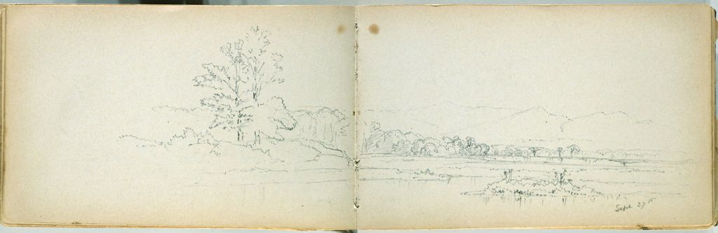 Partial Landscape; Verso: Blank Page