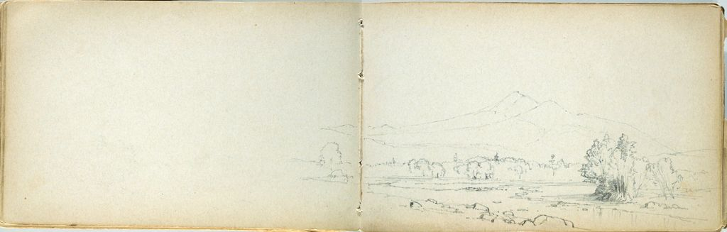 Partial Landscape With Stream; Verso: Blank Page