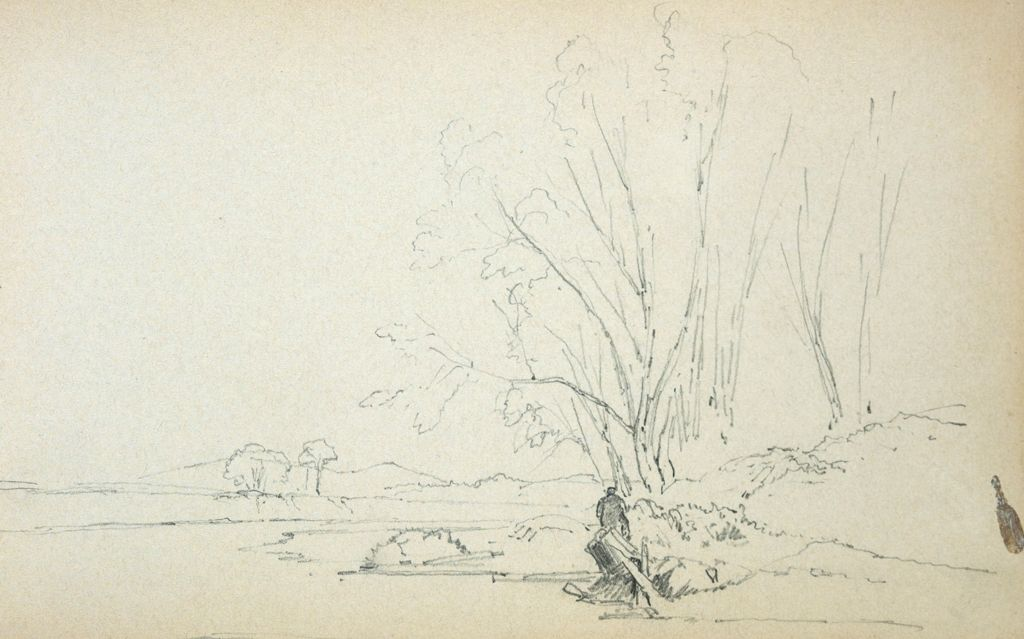 Landscape With Figures; Verso: Blank Page