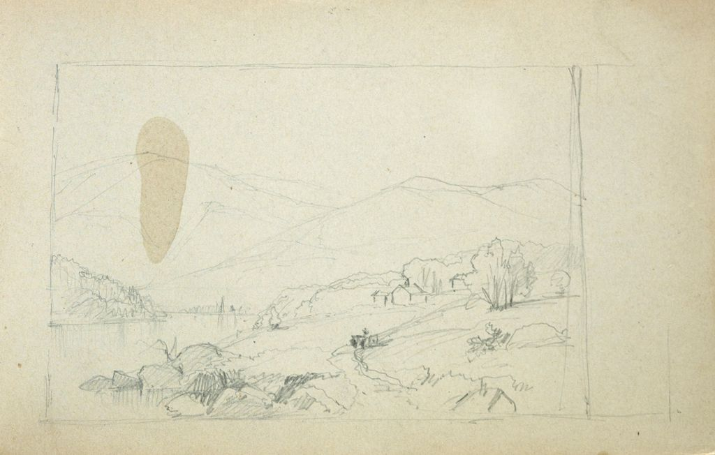 Landscape With Buildings; Verso: Blank Page