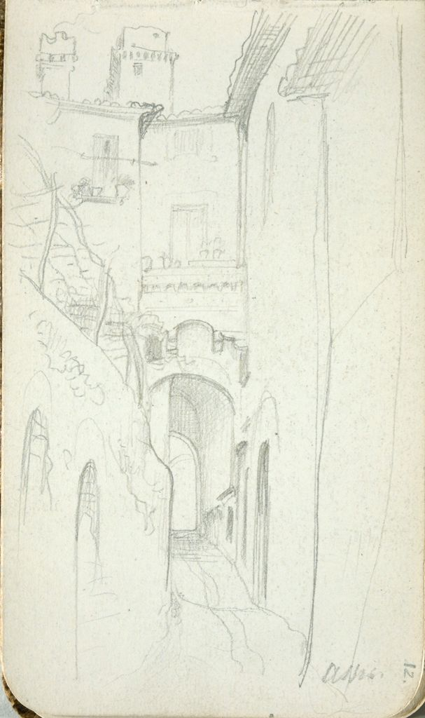 Street In Assisi; Verso: Landscape/Townscape (Continues On Page 13 Recto)
