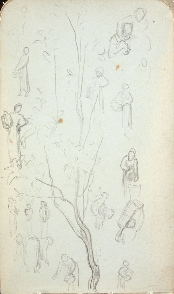 Blank Page; Verso: Sketches Of Trees And Female Figures With Baskets Or Jugs