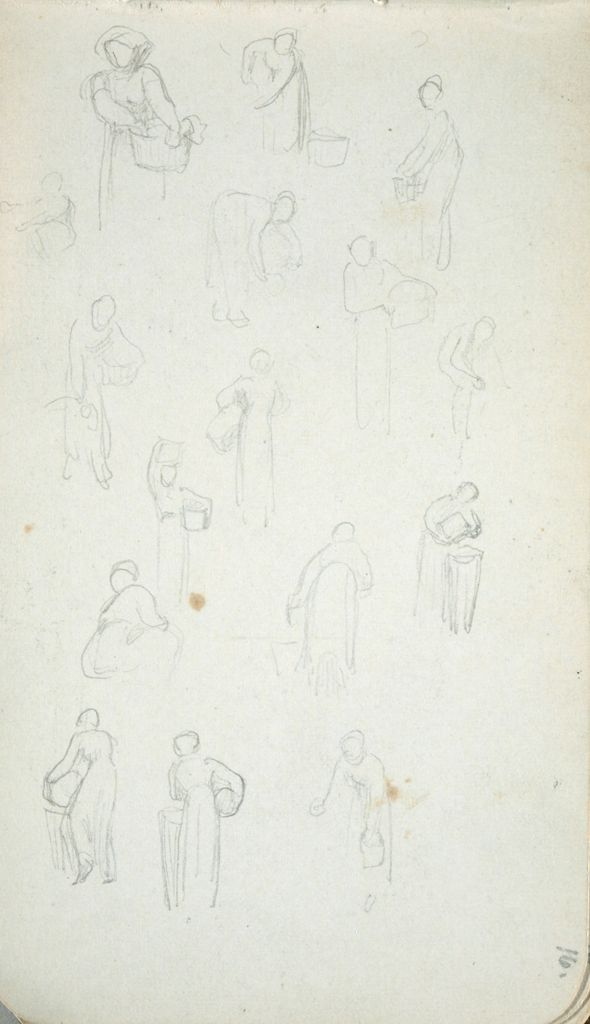 Sketches Of Female Figures With Baskets Or Jugs;  Verso: Sketches Of Female Figures