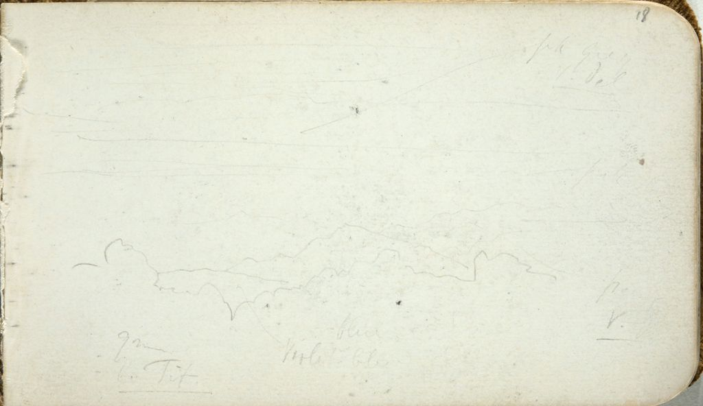 Faint Sketch Of A Landscape; Verso: Sketches Of Figures Carrying Baskets On Their Backs