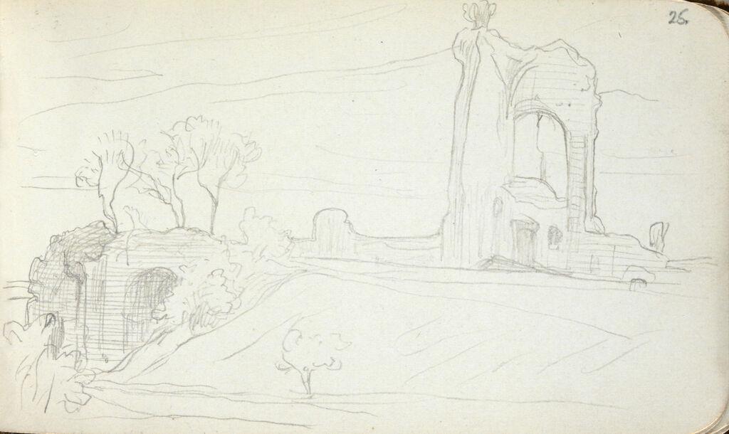 Ruins; Verso: Study Of A Tree
