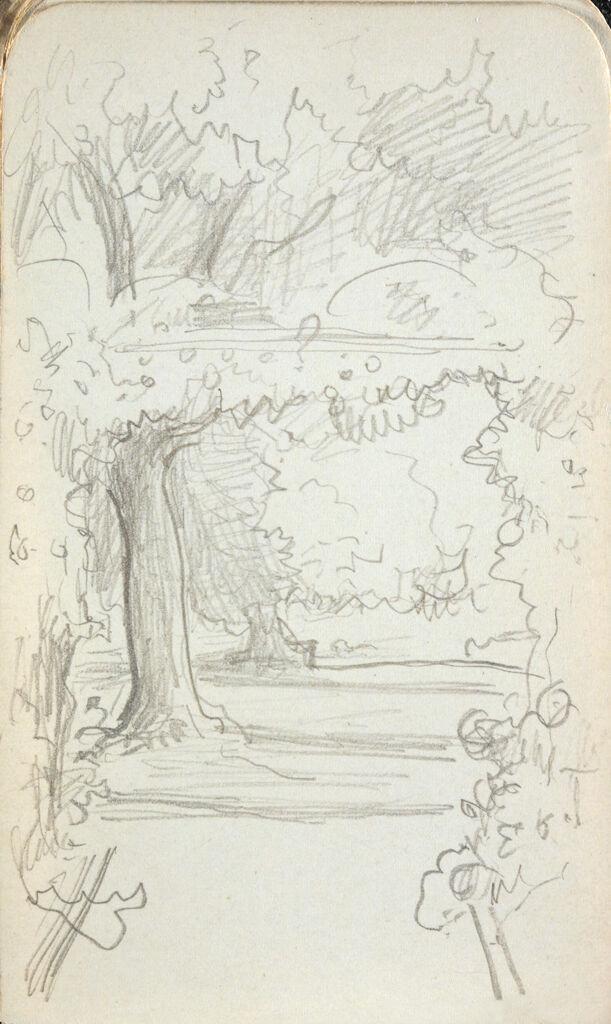 Blank Page; Verso: Garden Landscape