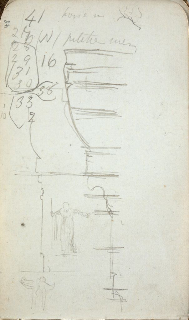 Architectural Sketches And Figure Studies; Verso: Figure Studies