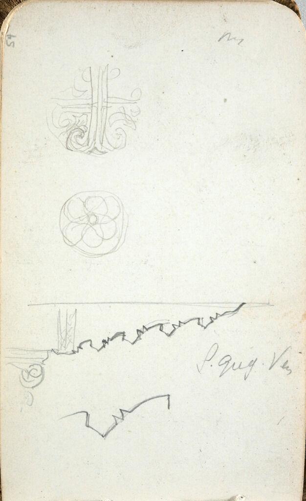 Architectural And Ornament Studies; Verso: Inscription