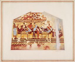 Banquet Scene, After An Etruscan Tomb At Tarquinia, Italy