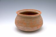 Compressed, Ovoid, Wide-Mouthed Bowl with Ribbed Decor
