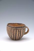 Cup Or Bowl With One Loop Handle And Abstract Décor