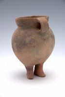 Small Globular Jar With Short, Straight Neck, Two Strap Handles, Two Anthropomorphic Feet, And Cord-Marked Decor