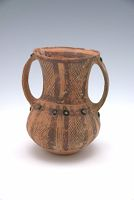 Wide-Mouthed Jar With Long Neck, Two Strap Handles, And Geometric Décor