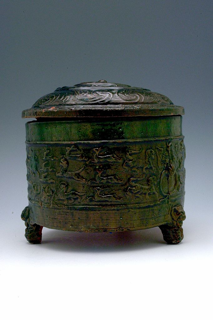 Cylindrical Tripod Vessel (Lian) With Domed Cover