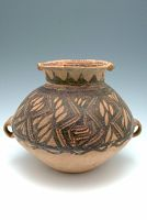 Ovoid Jar With Two Loop Handles And Short, Flaring Neck, And With Geometric Decor