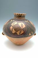 Ovoid Storage Jar With Two Lug Handles, With Short Neck And Flaring Lip, And With Abstract Spiral Decor