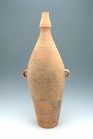 Tall Amphora With Flat Bottom, Small Neck, Two Strap Handles, And Abstract, Linear Decor