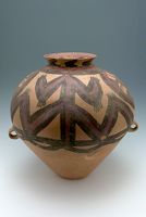 Large Ovoid Jar With Two Strap Handles, Flaring Lip, And Abstract Decor (Perhaps A Stylized Anthropomorph Or Zoomorph)