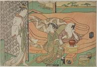 Man Smoking in Bed with Woman and Attendant, Watched by a Tiny Man (First Maneemon Series?)