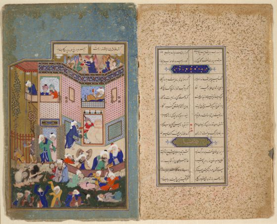 Earthly drunkenness painting recto text verso for Divan of hafiz