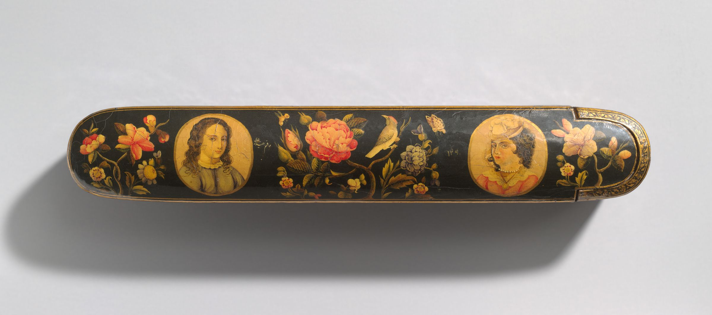 Pen Box With Flowers, Birds, And Portraits