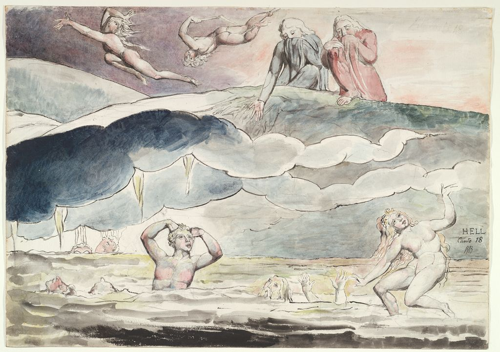 Dante And Virgil Gazing Into The Ditch Of Flatterers (From Dante's