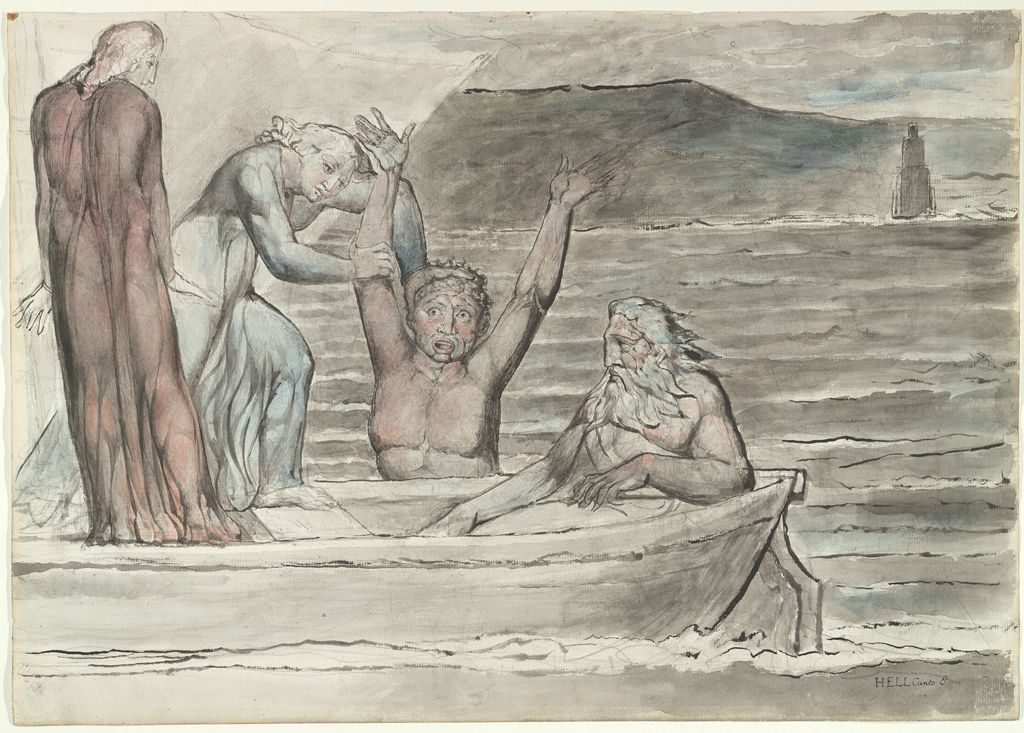 Dante And Virgil In The Skiff Of Phlegyas Are Hailed By Filippo Argenti (From Dante's