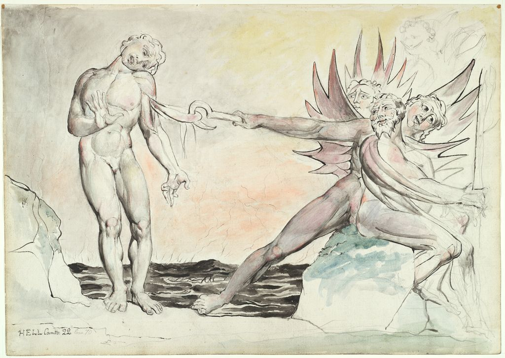 Ciampolo The Barrator Tormented By The Devils (From Dante's