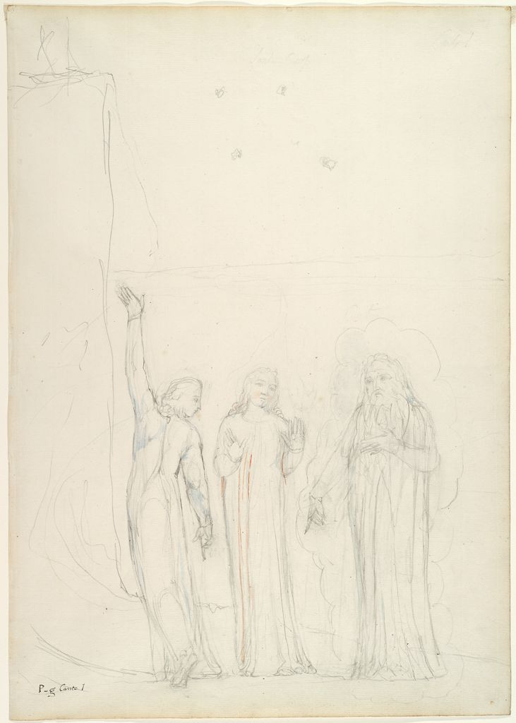 Dante, Virgil And Cato (From Dante's