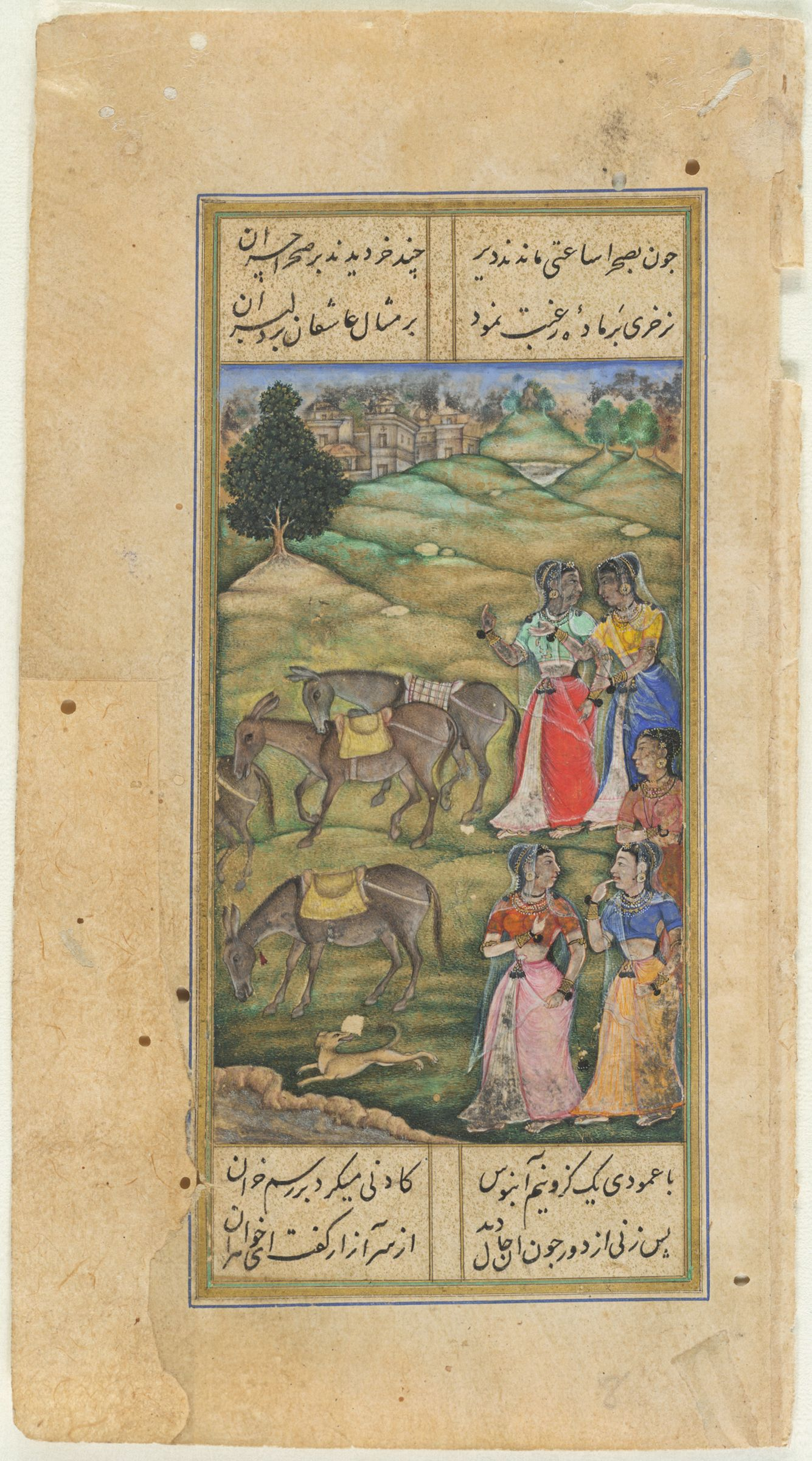 Ladies Witnessing Suggestive Donkeys (Painting, Recto; Text, Verso), Folio 262 From A Manuscript Of The Divan Of Anvari