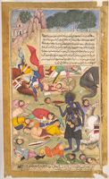 Kali Quaffs Blood In The Pallava Camp (Painting, Recto; Text, Verso), Illustrated Folio From A Manuscript