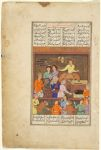 Gushtasp with the Blacksmith Burab (painting, recto; text, verso), folio of a Shahnamah of Firdawsi